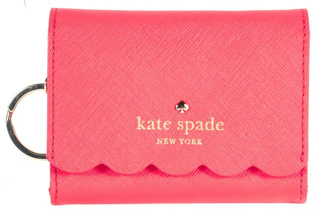 KATE SPADE Red Saffiano Leather Scalloped Key Chain Mini Coin Purse