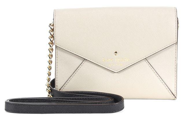 KATE SPADE Gray Saffiano Leather Small Envelope Clutch Crossbody Bag