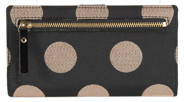 KATE SPADE Black Metallic Bronze Polka Dot Canvas Bi-Fold Wallet