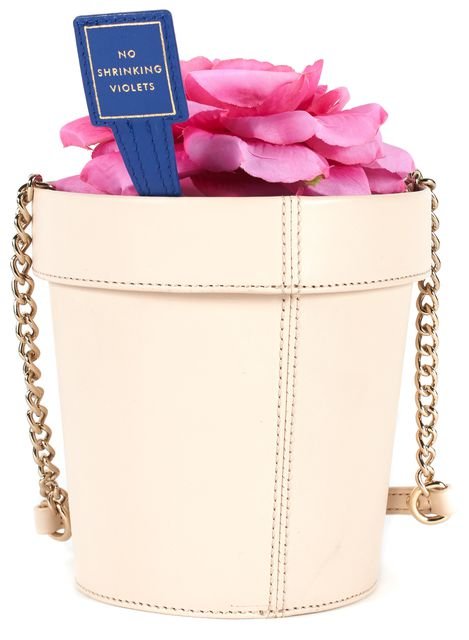 KATE SPADE Peach Pink Leather Spring Forward Flowerpot Chain Strap Crossbody