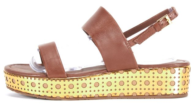 KATE SPADE Brown Shimmery Gold Polka Dot Leather Sandals