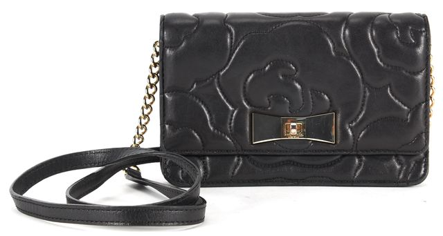 KATE SPADE Solid Black Leather Floral Stitch Gold Chain Crossbody Bag