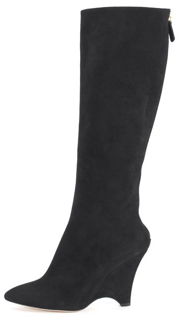 KATE SPADE Black Suede Leather Pointed Toe Knee-High Wedged Boots