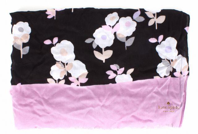 KATE SPADE Black Pink White Posy Floral Oblong Scarf
