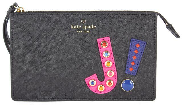 KATE SPADE Black Pink Embellished Saffiano Leather Leila Wristlet