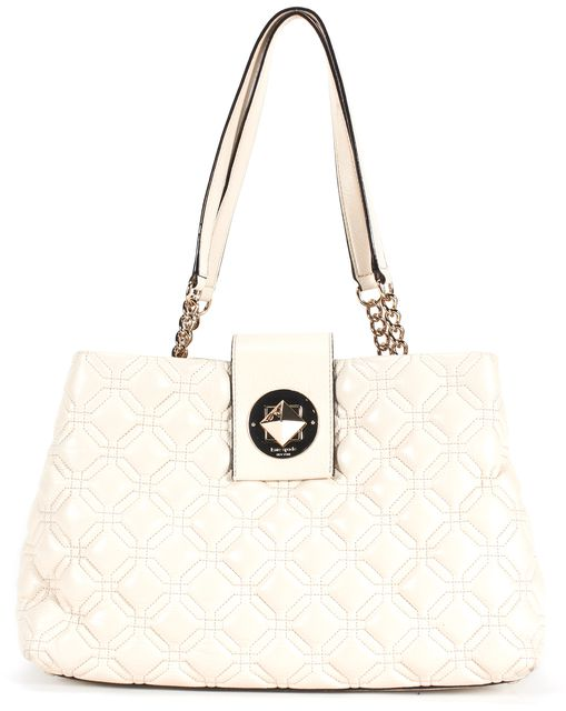 KATE SPADE White Leather Astor Court Elena Shoulder Bag
