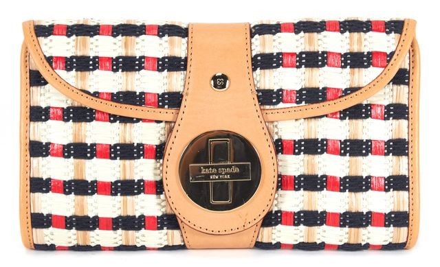 KATE SPADE Ivory Brown Red Navy Plaid Woven Straw Clutch
