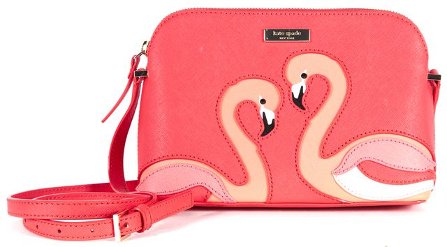 KATE SPADE Pink Saffiano Leather Take A Walk On The Wild Side Hanna Crossbody