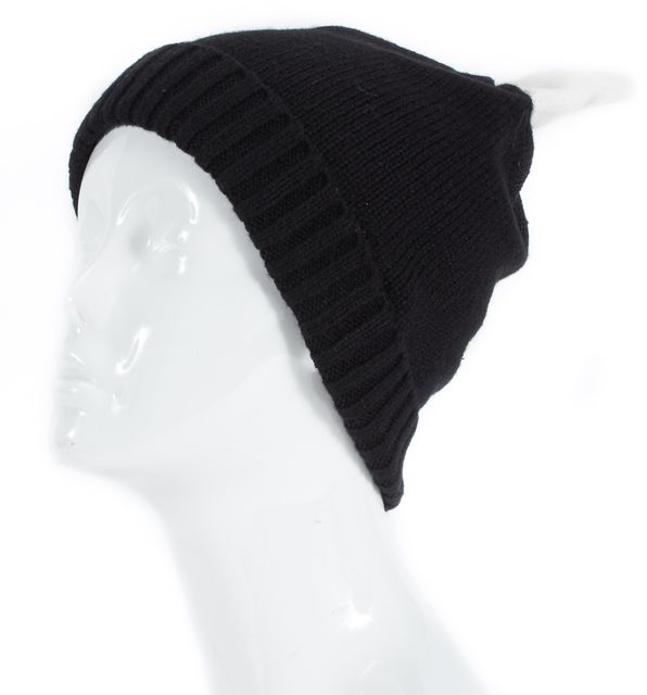 KATE SPADE Black Cream Colorblock Bow Cuff Beanie Hat