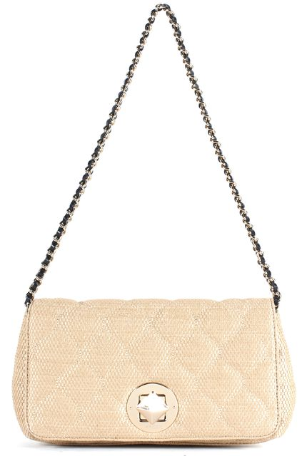 KATE SPADE Beige Quilted Woven Straw Chain Strap Shoulder Bag