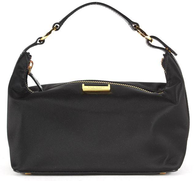 KATE SPADE Black Nylon Leather Trim Gold-Tone Hardware Hobo Handbag