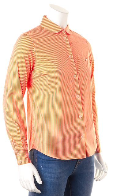 KATE SPADE Orange White Striped Button Down Cotton Shirt Top
