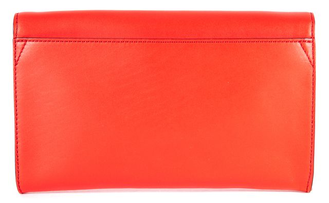 KATE SPADE Poppy Orange Leather Bow Holly-Street Remi Clutch