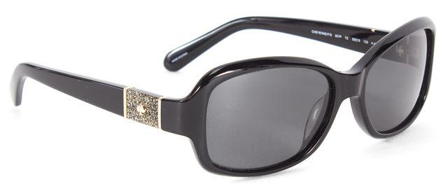 KATE SPADE Black Acetate Polarized Cheyenne Rectangular Sunglasses w/ Case