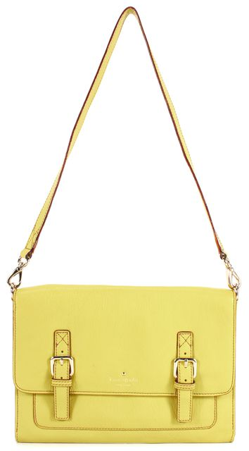 KATE SPADE Bright Yellow Gold Buckle Detail Leather Snap Open Shoulder Bag