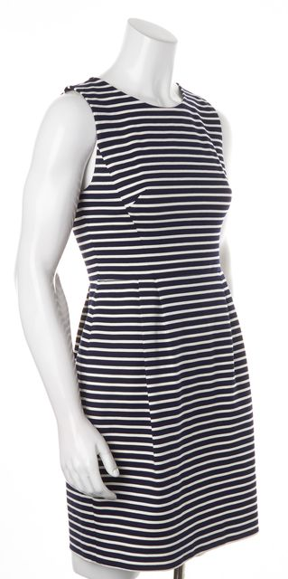 KATE SPADE Blue White Striped Sleeveless Knee-Length Sheath Dress