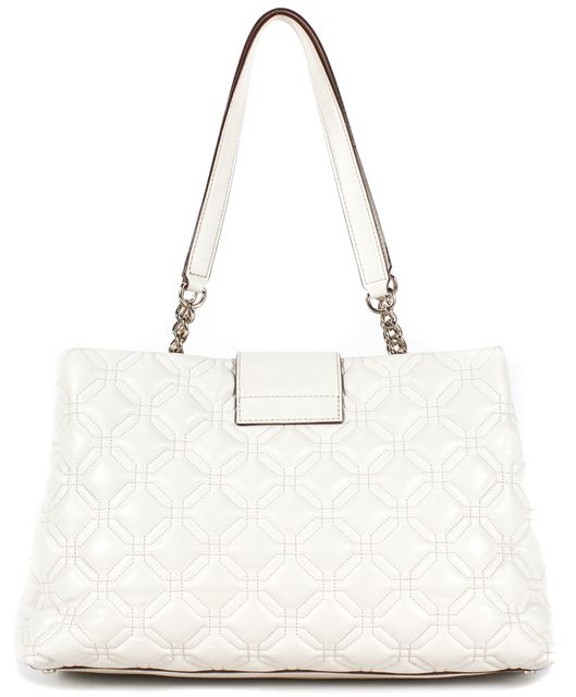 KATE SPADE Bright White Quilted Octagon Leather Shoulder Bag