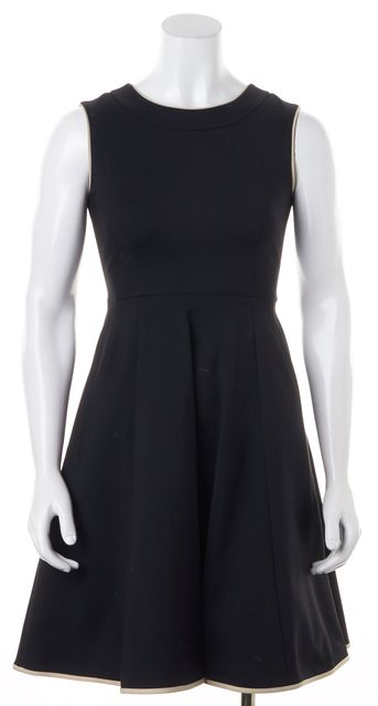 KATE SPADE Black Beige Trimming Sleeveless Fit & Flare Cotton Dress