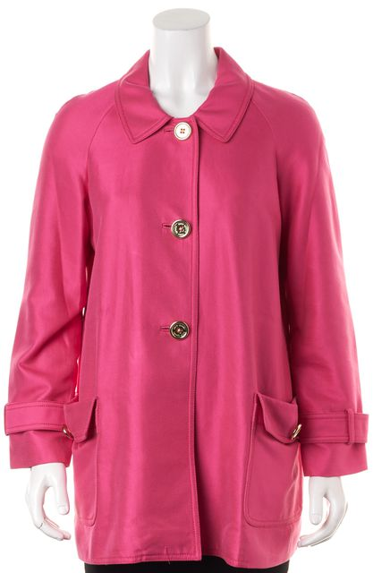 KATE SPADE Pink Stretch Cotton Button Up Basic Peacoat Coat