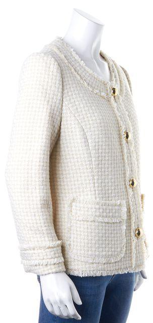 KATE SPADE Ivory Gold Metallic Tweed Pocket Front Button Up Jacket