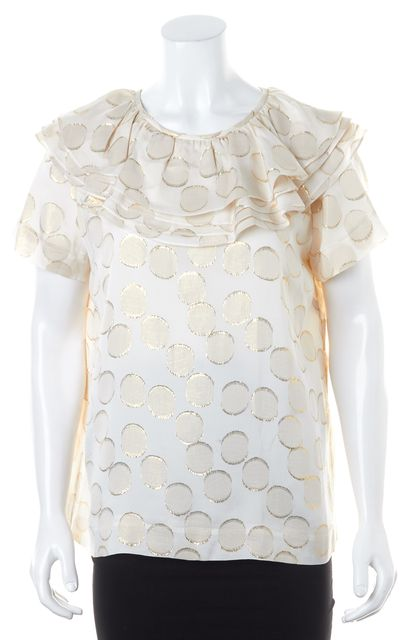 KATE SPADE Beige Gold Metallic Ruffle Polka Dot Silk Sleeveless Blouse