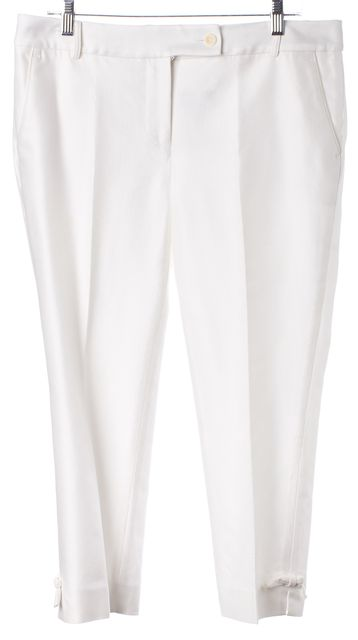 KATE SPADE White Cropped Pleated Trouser Dress Pants