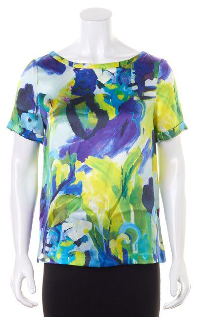 KATE SPADE Purple Green Yellow Watercolor Floral Print Silk Blouse Top