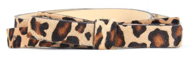 KATE SPADE Brown Black Cheetah Print Calf-Hair Skinny Bow Belt