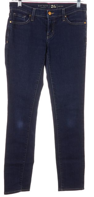 KATE SPADE Blue Stretch Cotton Low Rise Dark Wash Skinny Jeans
