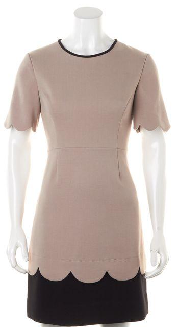 KATE SPADE Beige Black Colorblock Short Sleeve Scalloped Edges Sheath Dress