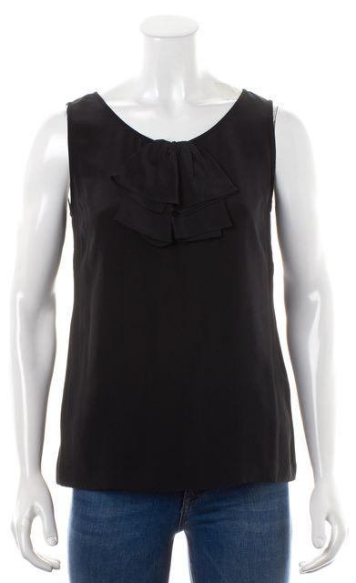 KATE SPADE Solid Black Ruffle Collar Sleeveless Silk Blouse Top