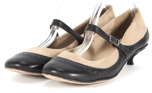 KATE SPADE Beige Black Suede Leather Mary Jane Kitten Heel Heels