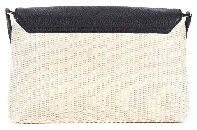 KATE SPADE Black Beige Leather Wicker Shoulder Bag