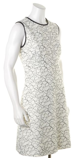 KATE SPADE White Black Floral Embroidered Lace Linen Sheath Dress