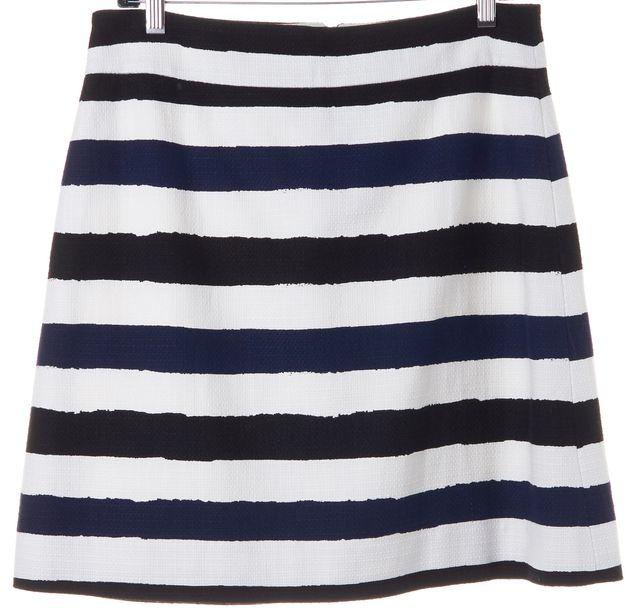 KATE SPADE Navy Blue White Black Striped Pencil Skirt