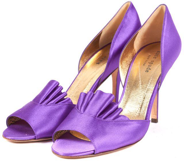 KATE SPADE Purple Satin Gathered Open-Toe d'Orsay Heels