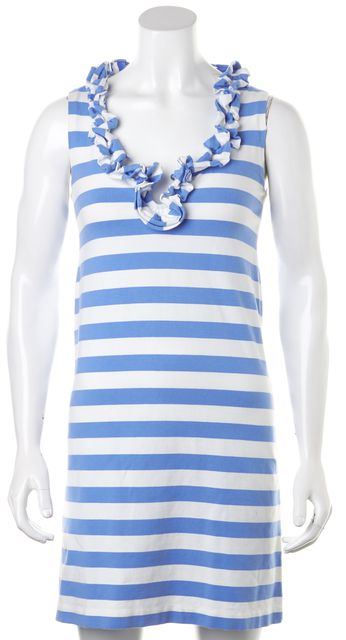 KATE SPADE Blue White Striped Stretch Cotton Sleeveless Shift Dress