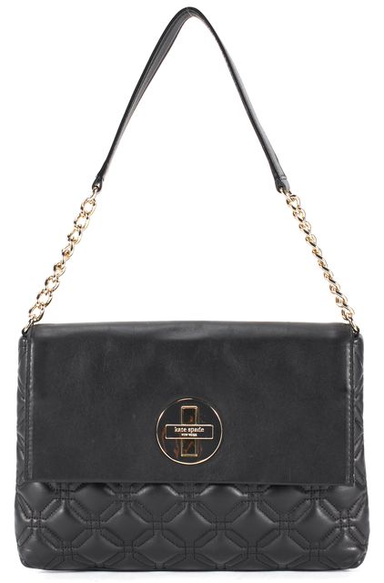 baeccfb9689d ... KATE SPADE Black Quilted Leather Chain Strap Charlize Shoulder Bag