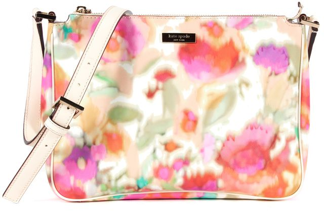 KATE SPADE Ivory Pink Yellow Grant Street Floral Coated Canvas Sally Crossbody