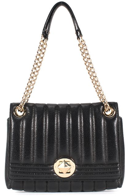 KATE SPADE Metallic Black Quilted Leather Chain Strap Shoulder Bag