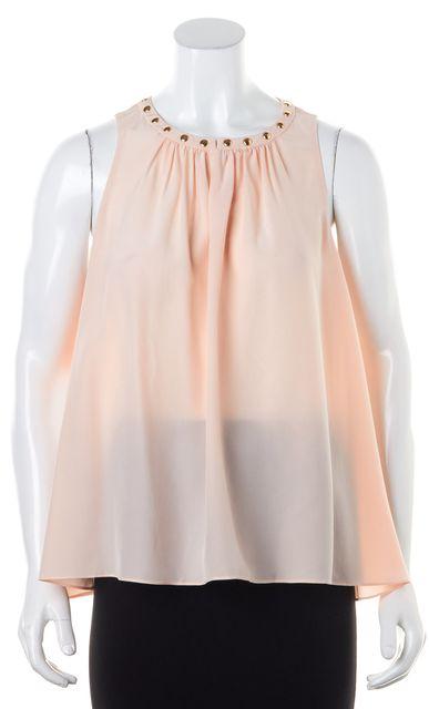 KATE SPADE Pink Gold Semi Sheer Stud Crepe Silk Blouse Top