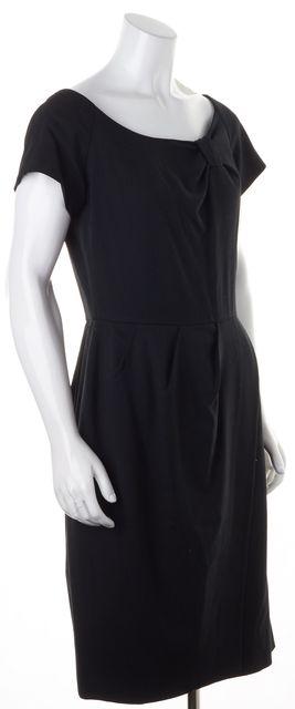 KATE SPADE Black Wool Pleated Wrap Front Cap Sleeves Sheath Dress