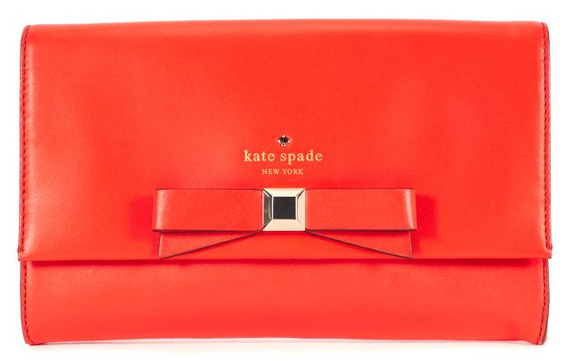 KATE SPADE Blood Orange Leather Montford Park Smooth Kiera Clutch