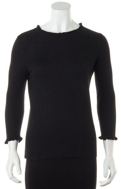 KATE SPADE Solid Black Ruffle Collar Cotton Crewneck Sweater