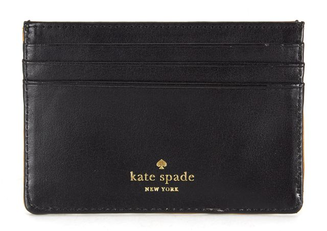 KATE SPADE Gold Black Embossed Mirrored Leather Two Side Card Case