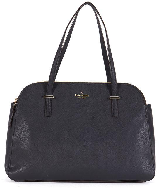 KATE SPADE Black Leather Structured Double Zipper Shoulder Bag