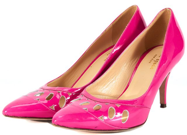 KATE SPADE Pink Laser Cut Patent Leather Pointed Toe Pumps Heels