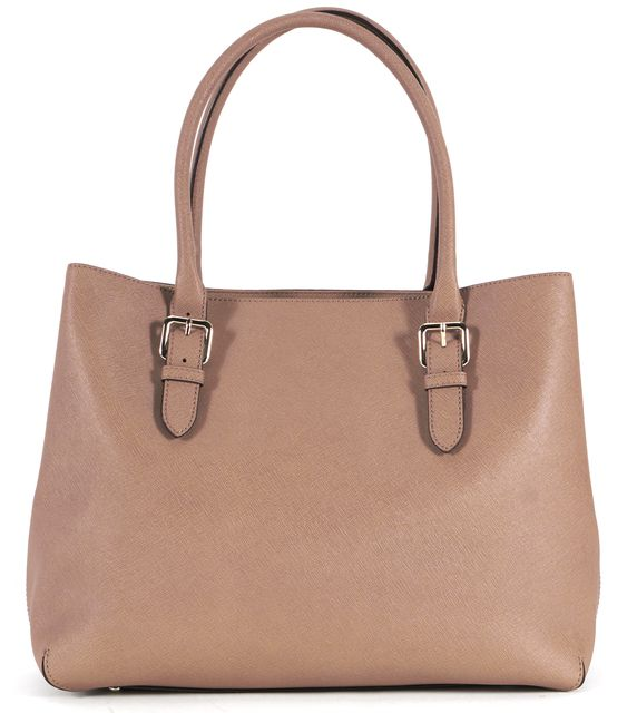KATE SPADE Light Brown Leather Structured Shoulder Tote Bag
