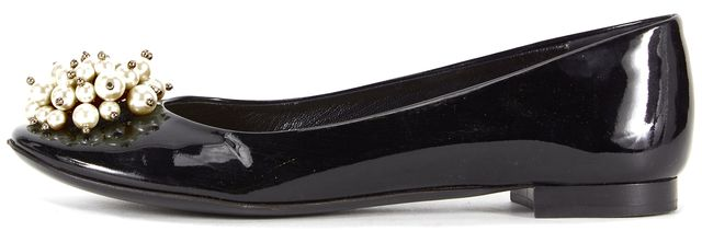 KATE SPADE Solid Black Embellished Pearl Flower Toe Patent Leather Flats