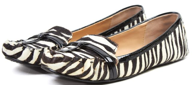 KATE SPADE Black White Zebra Print Calf Hair Flat Loafers